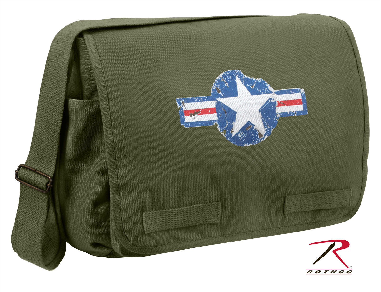 a20e5af000 Vintage Army Air Corp Style Messenger Bags w  Star - Black
