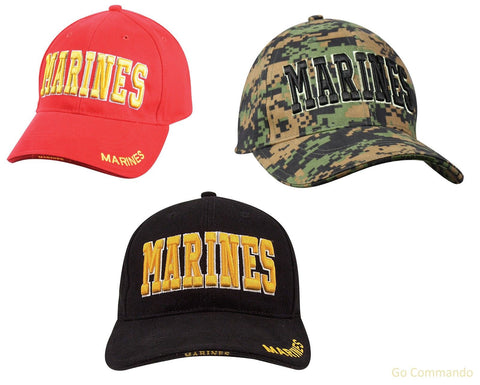 Low Profile Marines Corps Hats - Deluxe Military Insignia Adjustable Ball Caps