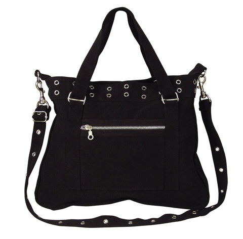 Women's Black Vintage 'Pistol Belt' Bag - Silver Grommets - Gothic Purse