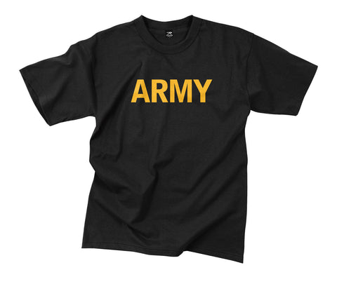 Black Army T-Shirt With Gold Army Print