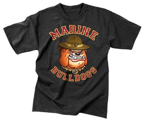 Black Marine Bulldog T-Shirt Mens Military Tee T Shirt USMC Casual Undershirt