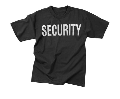 Black 2-Sided Reflective Security Print T-Shirt sizes S-3XL