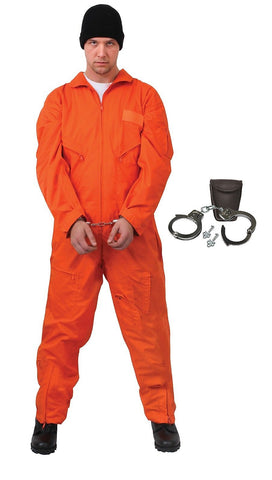 Adult's Inmate Prisoner Halloween Costume - Convict's Uniform and Handcuffs S-3X