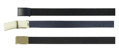 "Cotton Belts w/ Flip Buckle - Black Belts or Navy Blue Belts Cinturon 1.25"" Wide"