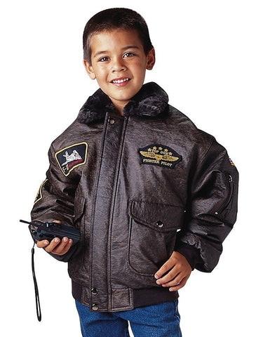 WWII Kids Aviator Flight Jacket W/ Insignia Patches And Map Lining / XS - XL