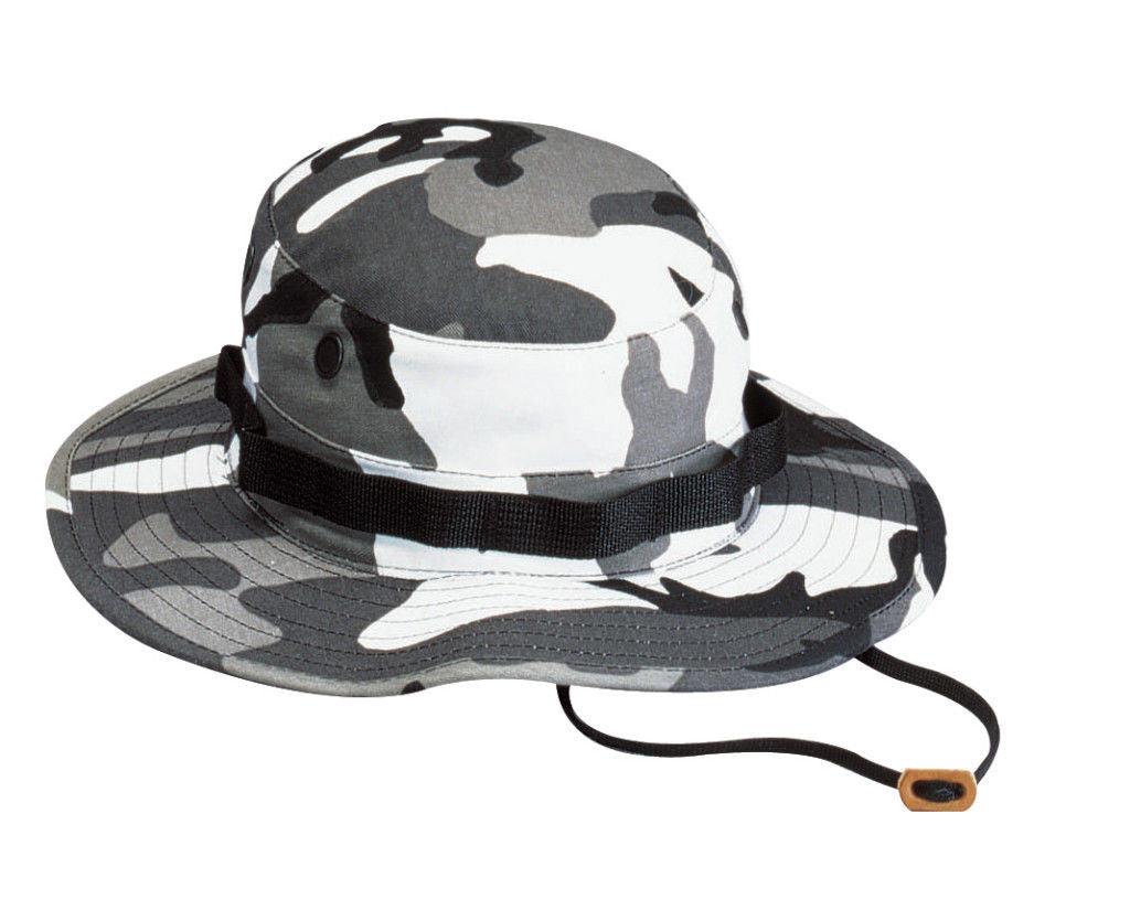 57ff783e8d61c Military Boonie Hat - Camo Camouflage Cotton Wide-Brim Bucket Sun Hat Black  City Camo Desert Digital ...