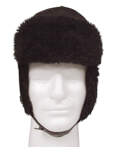 Black Trooper Hat Synthetic Wool Fur Cap w/ Fold Down Ear Flaps Cold Winter Hats