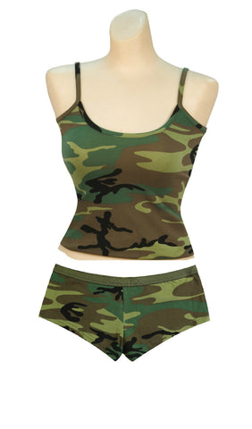 Womens Camouflage Booty Shorts Sexy Hot Cute Panties Underwear & Tanktop