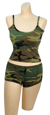 Womens Camouflage Booty Camp Shorts Cute Underwear Panties & Soft Tanktop XS-2XL
