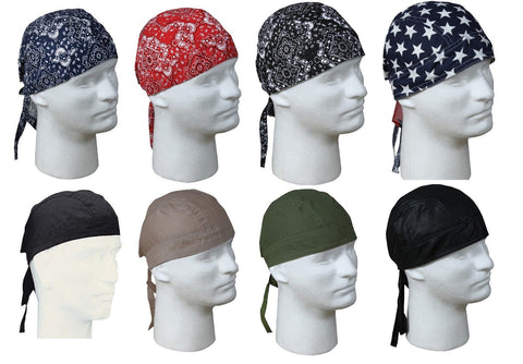 Headwraps -  Cotton Fitted Bandana Do-Rags Biker Doo Rag Skully Helmet Liners