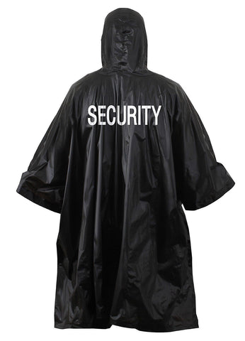 Black SECURITY Rain Poncho Coat Vinyl Hooded Waterproof Outdoor WeatherJacket