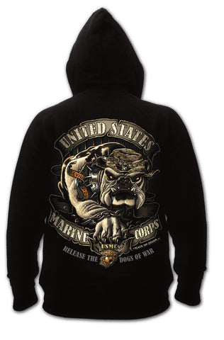 Black Military Hoodie USMC Graphic Bulldog Pullover Hooded Sweatshirt Black Ink