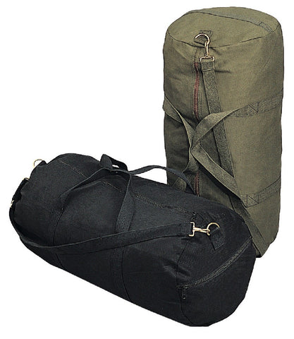 "Canvas Shoulder Bags - 24"" Black Durable Heavy Duty Military Duffle Gear Bag"