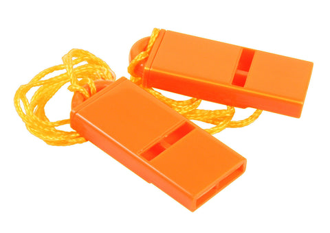 Flat Orange Safety Whistle - 2 Per Pack - Includes Lanyard - Cross Guard, Marine