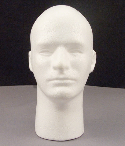 "Male Mannequin Styrofoam 12"" Head Bust With Face - Display Wigs, Glasses, & Hats"
