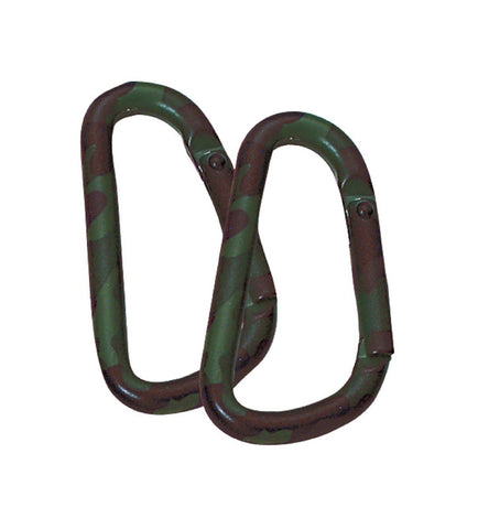 Woodland Camouflage Carabiner 2 Per Card - 60 MM - Not For Climbing