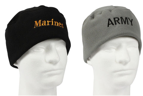 Military Polar Fleece Watch Cap Marines USMC Army Embroidered Cold Winter Hat