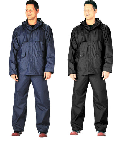 Microlite Rainsuits -2-Piece PVC Coated Nylon Rain Suit - Navy or Black Rainsuit