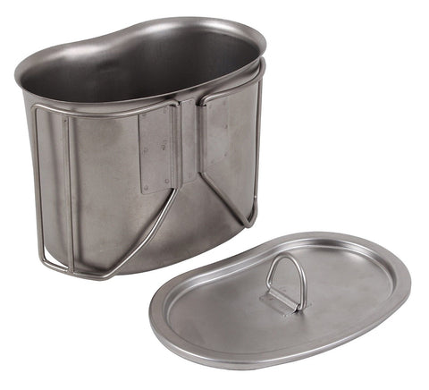 GI Style Stainless Steel Canteen Cup w/ Lid Metal Military Camping Cooking Cup