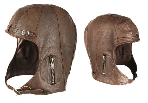 Brown Leather WWII Style Pilots Helmet Military Aviator Head Cover