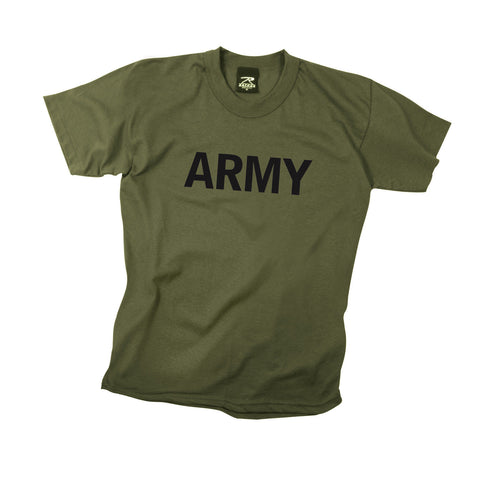 "Kids ""Army"" T-Shirt - Olive Drab With Black Print"