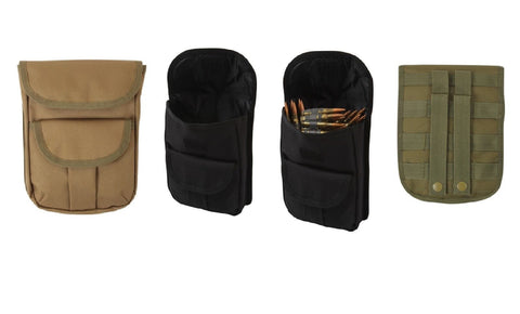 MOLLE 2-Pocket Ammo Pouch - Black, OD or Coyote Brown Shell Bullet Holder