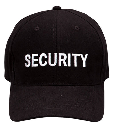 """Security"" Cap - Black - With White Or Gold Embroidery Low Profile Baseball Hat"