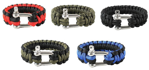 Paracord Bracelets w/ D-Shackle Closure - 7 Strand Red/Black, OD, Blue -7-10""