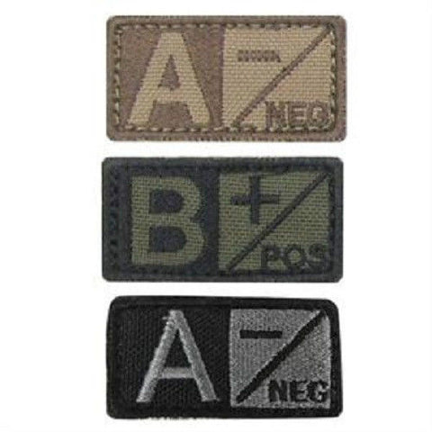 Condor Blood Type Patch - Velcro Hook and Loop - All Blood types 3 Colors