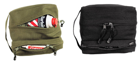 Travel Toiletry Shave Kit Bags - Dual Section Canvas Tourist Shower Packs