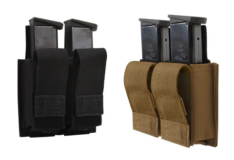 MOLLE Double Pistol Mag Pouch w/ Inserts - Black or Coyote Brown Magazine Holder