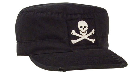 Vintage Fatigue Jolly Roger Pirate Hat - Black Skull & Bones Biker Goth Cap