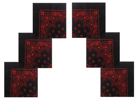 "6 PACK Black and Red Bandanas 22"" Paisley Trainmen Cotton Biker Cool Headwraps"
