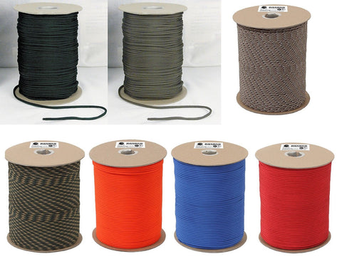 1000' Paracord - Olive Drab/Black/Desert Camo/Wood Camo/Orange/Royal Blue/Red