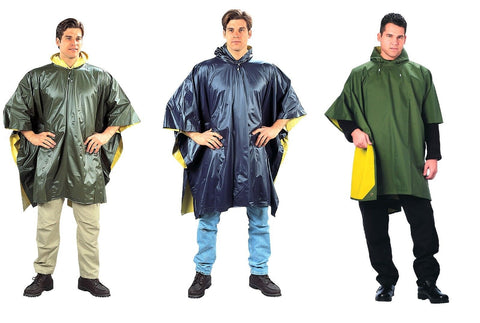Rain Ponchos - Reversible Rain Coat Rain Jacket w/ Hood - OD/Yellow, Blue/Yellow