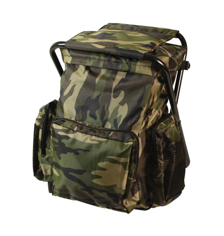Backpack and Stool Combo Pack -Turns into Stool - Rucksack, Daypack - Camo, OD