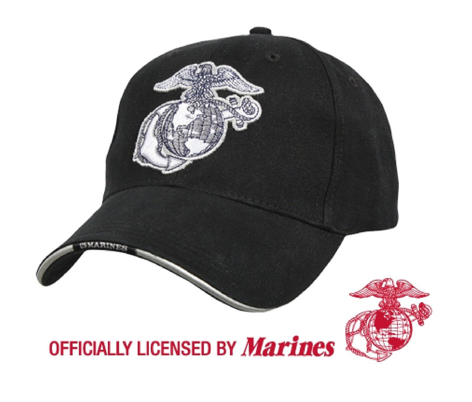 fed5009e60 USMC Globe   Anchor Embroidered Hat Black Low Profile Marine Corps Baseball  Cap