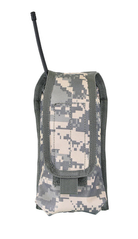 MOLLE Radio Pouch - ACU Digital - Hook & Loop Flap Closure / Cell Phone Use Too