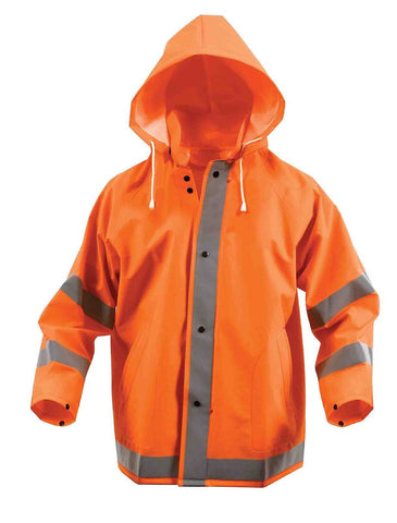 Safety Orange Reflective Rain Jacket Snap-Up Hooded PVC Hi Visibility Coat