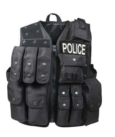 Black Tactical Raid Vest Rugged Deluxe SWAT Police Vests w/ Lots of Pouches