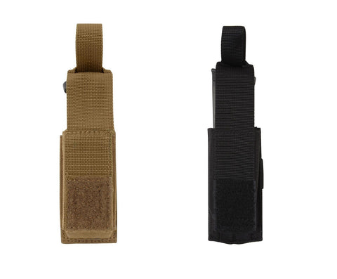 MOLLE Single Pistol Mag Pouch - Black or Coyote Brown - Handgun Ammo Holder