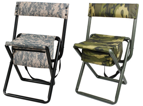 Deluxe Camouflage Folding Chairs With Pouch Woodland Or ACU / Hunting & Camping