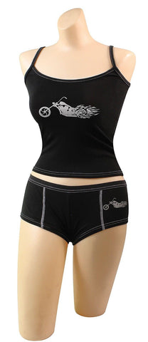 Womens Biker Booty Shorts Underwear & Hot Chopper Tanktop Sexy Biker Chick