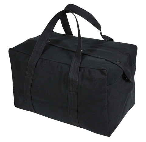 Black Tactical Cargo Bag - Small Duffle Parachute Bag - Canvas Carry On Size
