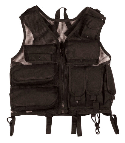 Black Ultimate Tactical Vest Ballistic Nylon SWAT Adjustable Deluxe Battle Vests