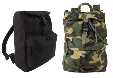 Canvas Daypacks - Camo or Black Backpack Bookbag Hiking Bags - H2O Resistant