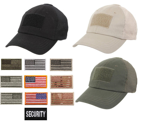 Mens Quality Mesh Tactical Hat Adjustable Cotton Baseball Cap w/ Patch Areas