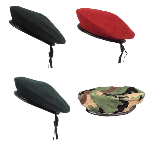 GI Style Beret Black Red OD Green Woodland Camo Military Hat Cap Berets XS - XL
