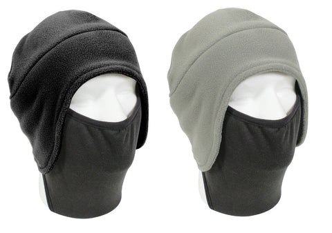 Convertible Winter Cap Hat w/ Facemask Black Fleece Cold Head & Face Mask Warmer