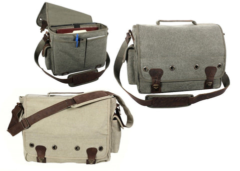Vintage Trailblazer Laptop Bags - Canvas & Leather Professional Shoulder Bag
